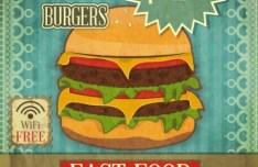 Retro Vintage Burger Shop Poster Vector