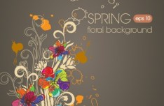 Hand Drawn Colorful Spring Flower Background Vector 02