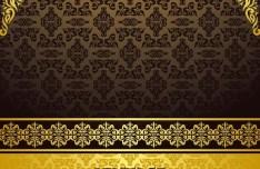 Vintage Golden Floral Pattern Background Vector 03
