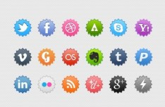 Colored and Rounded Label-Like Icon Set PSD