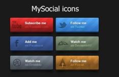 Elegant Social Follow Us Buttons PSD