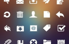 White Mail Icons PSD