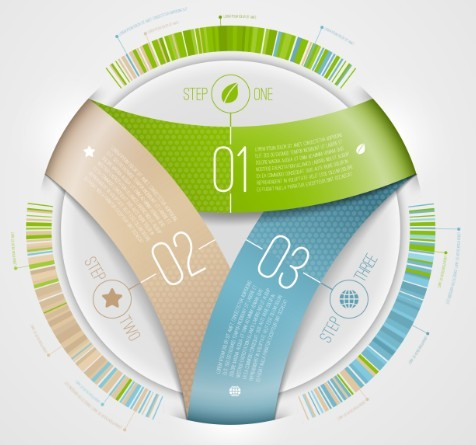Vector Infographic Step Option Circle Elements 03