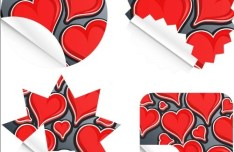 Vector Paper Folding-Like Red Heart Labels