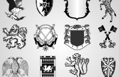 Black and White Vector Shield Shapes