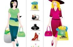 Cartoon Shopping Girl Elements Vector