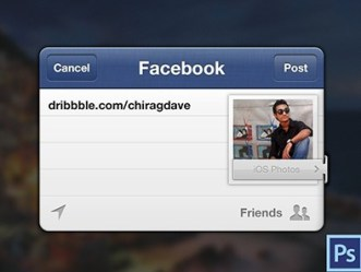 Facebook Share Box For iOS PSD