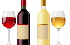 Vector Glossy Wine and Wineglass Elements 01