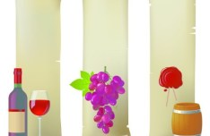 Vector Glossy Wine and Wineglass Elements 04