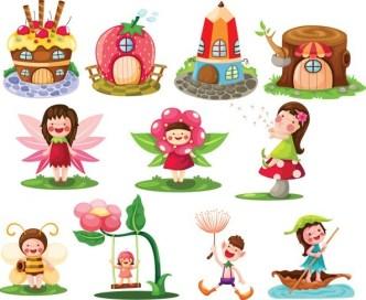 Lovely Cartoon Kids Vector Illustrations