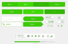 Tiny and Green Flat UI Kit PSD
