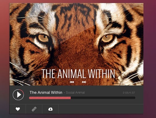 Flat Online Music Player UI PSD