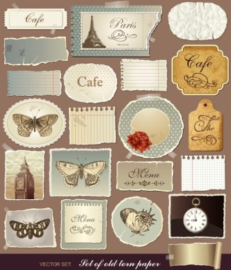 Set Of Vector Old Torn Paper Labels