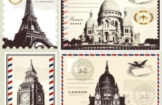 Vector Stamp and Postcard Set Of London and Paris Symbols 01