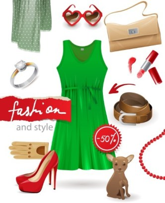 Women's Fashion And Style Elements Vector 02