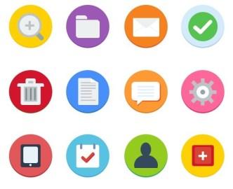 12 Flat Web Icons PSD