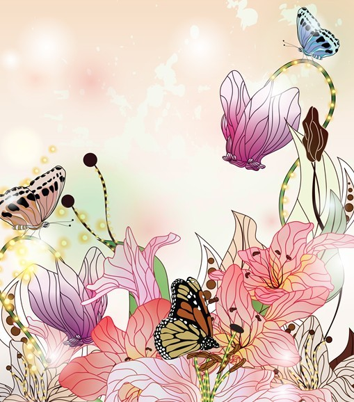 Free Classical Watercolor Painting Flower and Butterfly ...
