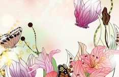 Classical Watercolor Painting Flower and Butterfly Background 03