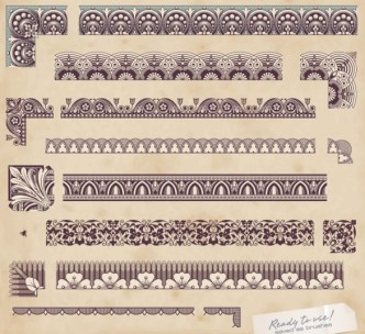 Vector Vintage Floral Border and Corner Design Elements 03