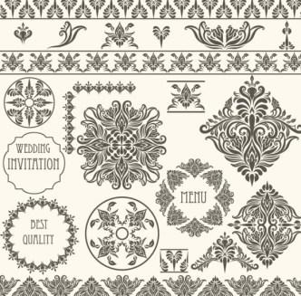 Vector Vintage Floral Border and Corner Design Elements 05