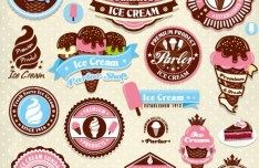 Retro Ice Cream Promotions Labels Vector
