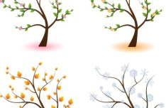 Clean Four Seasons Trees Vector 01