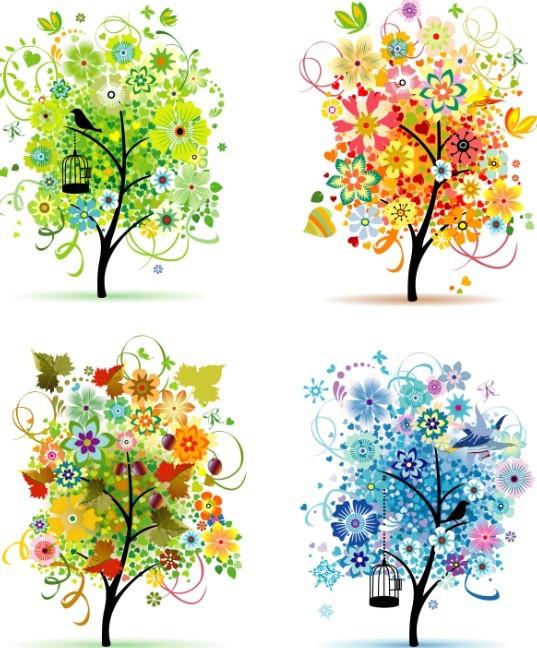 Clean Four Seasons Trees Vector 02