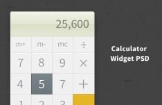Clean Calculator Widget PSD