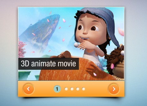 Mini Cartoon Slider Interface PSD