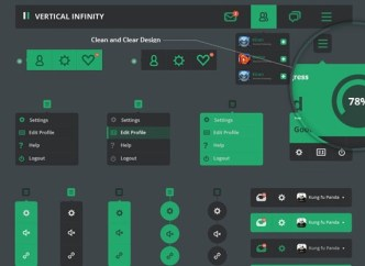 Vertical Infinity - Flat Style Web UI Kit PSD