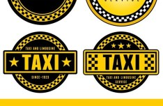 Vector Yellow Cab Sticker Labels 02