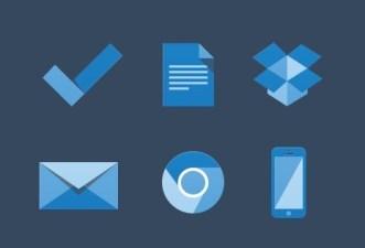 6 Blue Flat Icons PSD