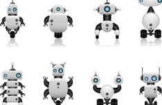 Cute Intelligent Robot Vector Design Materials 02