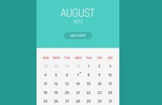 Blue and White Flat Calendar Interface PSD