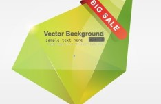 Green 3D Crystal-Like Vector Label