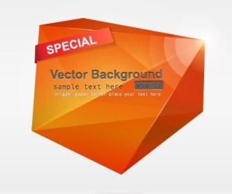 Orange 3D Crystal-Like Vector Label