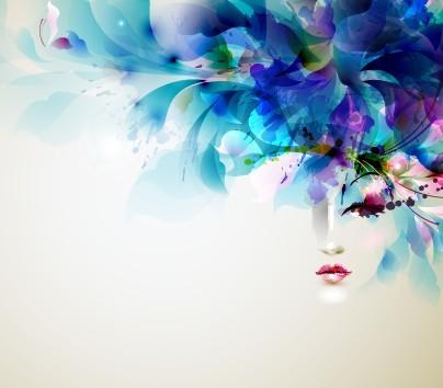 Vector Colorful Woman Head