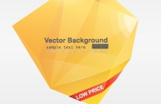 Yellow 3D Crystal-Like Vector Label