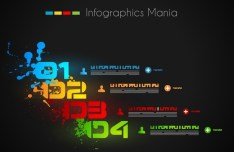 Dark Vector Infographic Data Display Elements 02