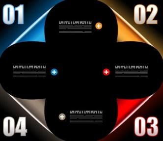 Dark Vector Infographic Data Display Elements 03