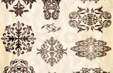 Set of Vector Vintage Brown Floral Borders and Frames 01