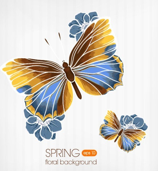 Vintage Spring Floral and Butterfly Background 02