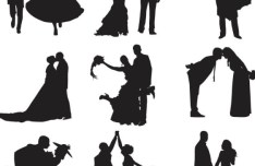 Vector Bride and Groom Silhouettes 01