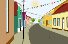 Cartoon City Streets and Buildings Vector Illustration 04