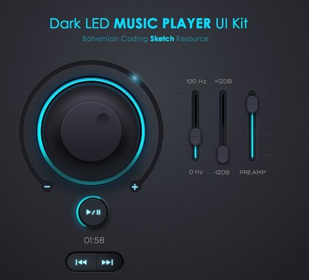 Dark LED Music Player UI Kit PSD