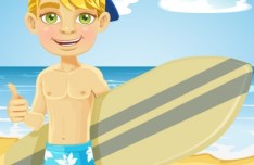 Vector Cartoon Beach and Boy Illustration 02