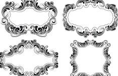 Simple Sketch Floral Vector Frame 02