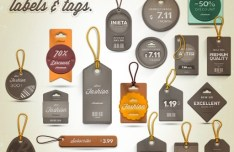 Set Of Vintage Pricing Labels and Tags PSD