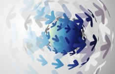 3D Blue Globe Background Design Vector 02