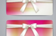 Fresh and Clean Cards with Ribbon Bows Vector 02